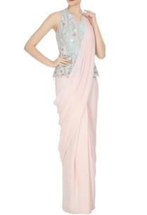 peach-pink-mint-green-banana-crepe-organza-chiffon-peplum-angrakha-blouse-with-pre-stithed-sari