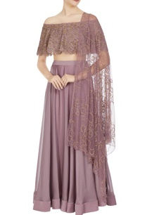 mauve-organza-chiffon-off-shoulder-blouse-with-lehenga-dupatta