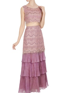 pink-mauve-lace-frill-scalloped-fringed-blouse-with-fish-tail-lehenga