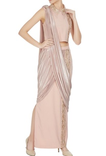 beige-gold-butterscoth-jersey-embellished-pre-draped-saree-with-collared-crop-top