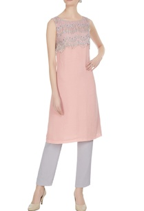 pink-silver-royal-georgette-lace-block-tunic-with-fringes