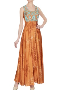orange-cotton-satin-printed-tunic-with-blue-floral-embroidery