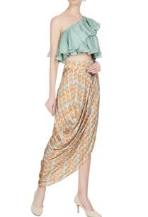 orange-blue-cotton-satin-printed-drape-skirt