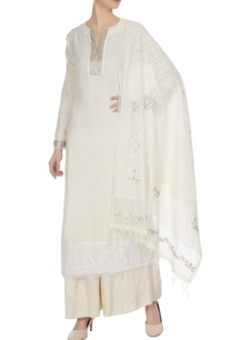 ivory-lucknowi-cotton-anarkali-with-flared-pants-ribbon-work-dupatta