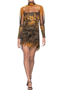 mustard-black-tulle-net-floral-satin-applique-short-dress