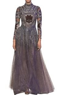 mouse-grey-tulle-net-velvet-hand-cut-applique-gown