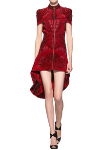 rose-red-silk-crepe-hand-crafted-french-knots-short-jacket-dress