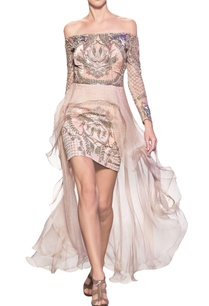 nude-pink-tulle-net-silk-crepe-silk-organza-hand-embroidered-off-shoulder-short-dress