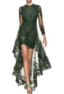bottle-green-forest-green-tulle-net-embellished-overlap-dress