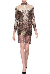 off-white-mauve-tulle-net-satin-applique-work-short-dress
