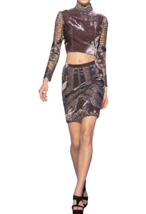 mouse-grey-tulle-net-velvet-french-knot-applique-crop-top-skirt