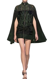 bottle-green-black-tulle-net-silk-crepe-applique-short-jacket-cape-dress