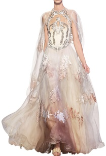 ivory-beige-silk-organza-velvet-applique-gown-with-cape-detailing-at-the-shoulder