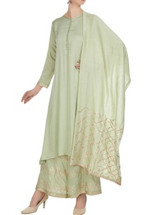 pista-green-cotton-satin-chanderi-hand-embroidered-a-line-kurta-with-palazzos-dupatta