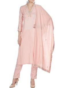 salmon-pink-cotton-satin-chanderi-zardozi-embroidered-straight-kurta-with-pants-dupatta