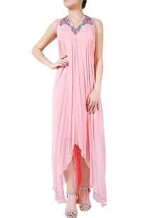 pink-bugle-bead-embellished-draped-gown