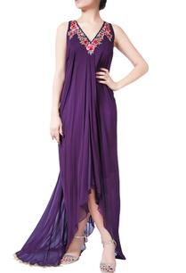 purple-sleeveless-draped-gown