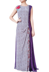 purple-printed-solid-pattern-pre-draped-dress