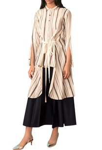 ivory-striped-hand-woven-high-low-shirt-with-belt