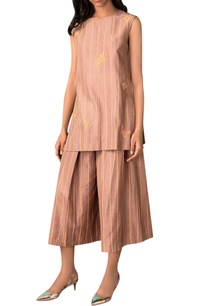 taupe-hand-woven-cotton-silk-wide-legged-culottes
