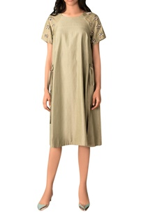 moss-green-hand-woven-cotton-silk-a-line-dress