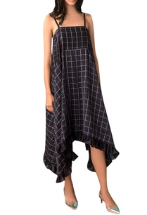 navy-blue-zari-checkered-slip-dress