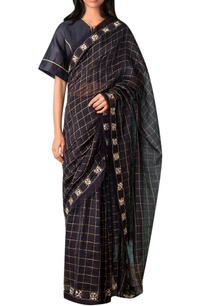 navy-blue-zari-checkered-sari