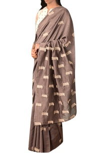 grey-handwoven-thread-texture-chanderi-saree