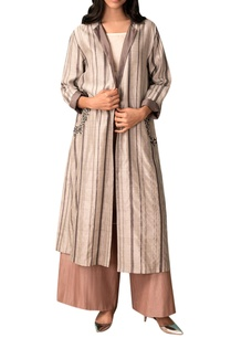 ivory-grey-striped-handwoven-chanderi-trench-coat