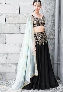 black-mint-green-satin-cotton-sequin-zari-work-lehenga-with-blouse-and-dupatta