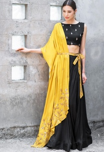 mustard-black-satin-cotton-sequin-zari-work-lehenga-with-blouse