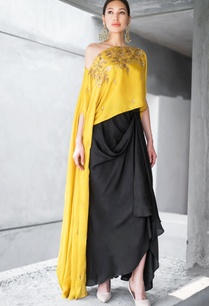 mustard-black-net-cotton-satin-sequin-zari-work-cape-with-draped-skirt