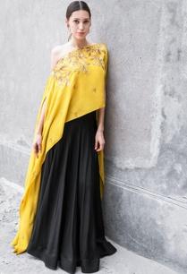 mustard-black-satin-cotton-sequin-zari-work-lehenga