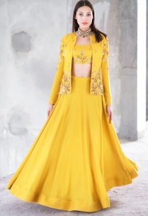 mustard-satin-cotton-sequin-zari-work-lehenga-with-crop-top-jacket