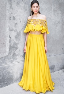 mustard-satin-cotton-sequin-zari-work-skirt-with-off-shoulder-blouse