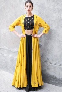 black-mustard-satin-cotton-sequin-zari-work-cape-with-crop-top-skirt