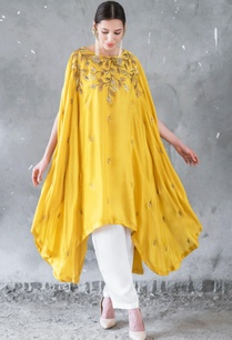mustard-white-satin-cotton-sequin-zari-work-high-low-cape-with-palazzos