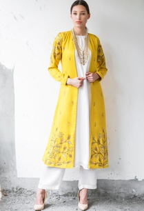 mustard-white-satin-cotton-sequin-zari-work-ankle-length-jacket-with-kurta-palazzo