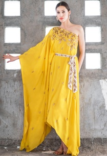 mustard-white-satin-cotton-sequin-zari-work-one-shoulder-dress