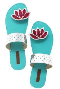 turquoise-lotus-beadwork-paduka-sandals