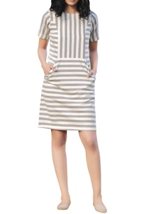 grey-ivory-cotton-stripe-pattern-short-dress-with-pockets