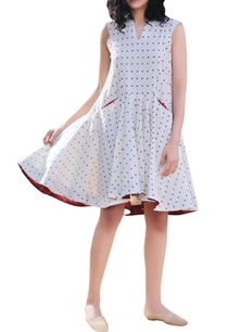 ivory-polka-handblock-printed-tent-flared-dress