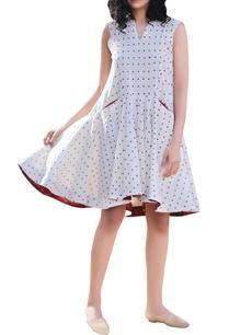 ivory-polka-handblock-printed-tent-flared-dress