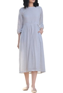 ivory-cotton-stripe-pattern-dress-with-balloon-sleeves