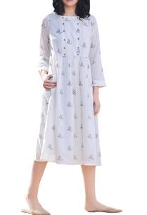 ivory-white-cotton-handblock-printed-dress
