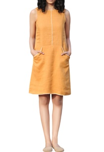 yellow-linen-hand-thread-embroidered-shift-dress