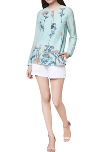 aqua-blue-cotton-silk-hand-embroidered-fitted-tunic