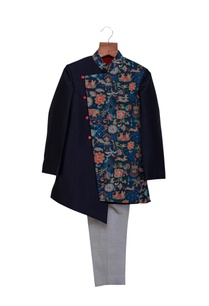 navy-blue-grey-cotton-silk-printed-sherwani-with-pants