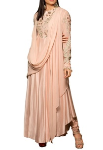 pastel-pink-modal-silk-georgette-machine-hand-embroidered-bias-dress-with-draped-overlay