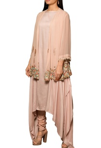 pastel-pink-modal-silk-georgette-machine-hand-embroidered-asymmetric-draped-kurta-with-pleated-overlay-churidar